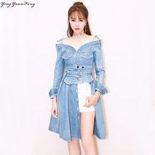 Yingyuanfang новые ковбойские слинг шеи платье с длинными рукавами