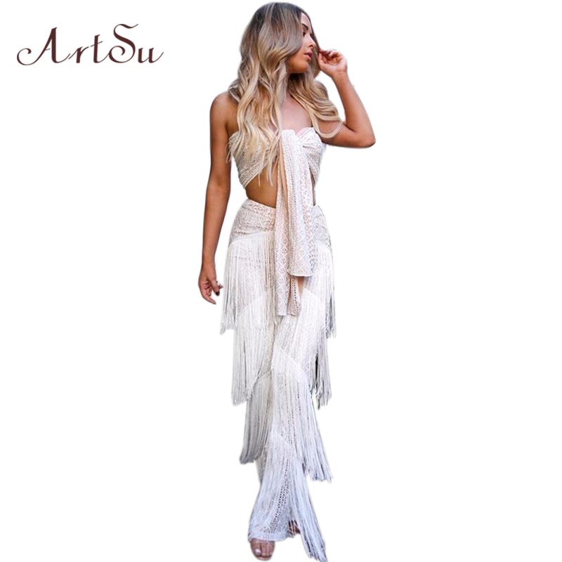 ArtSu 2018 Sexy Strapless Sleeveless Long Jumpsuit White Fashion Tassel Bow Lace Up Two  ...