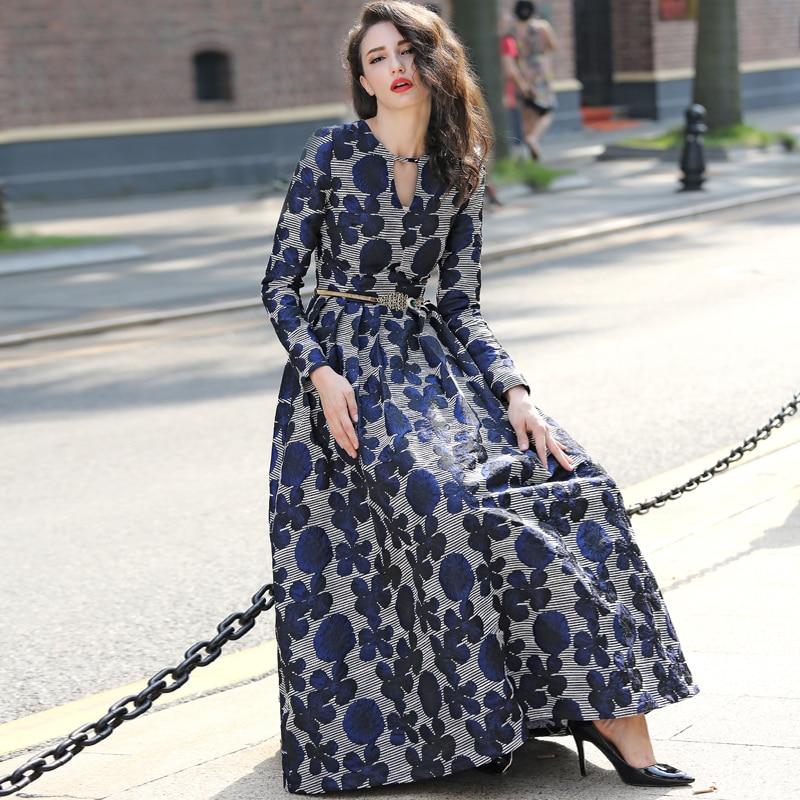 Di alta Qualità 2018 Nuove Donne Boho Vestito Da Modo Manica Lunga Vintage Navy Blue Floral Jacquard Vestito Da Autunno Inverno Lungo Maxi vestito