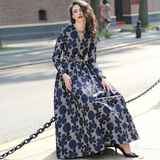 7cd30b9c16c6 High Quality 2018 New Women Boho Long Sleeve Fashion Dress Vintage Navy  Blue Floral Jacquard Dress Autumn Winter Long Maxi Dress