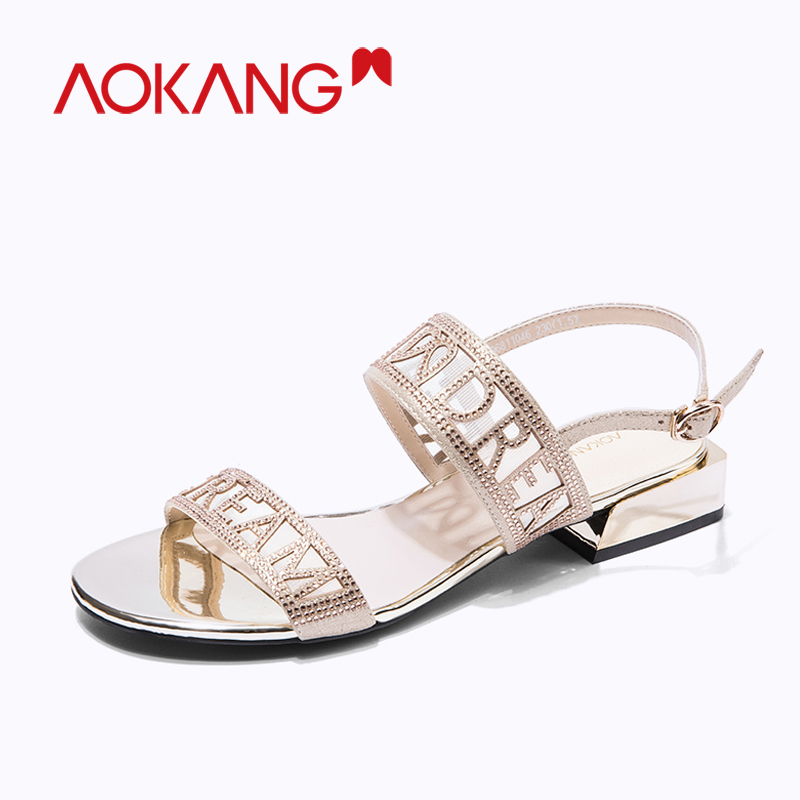 AOKANG Women flats sandals gladiator summer transparent open toe jelly shoes ladies roman buckle strap Crystal Casual beach shoe