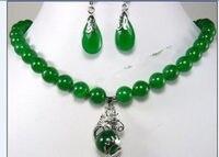 Gratis verzending Mode-sieraden mooie 10mm groen oorbel dragon hanger Ketting set 5.23