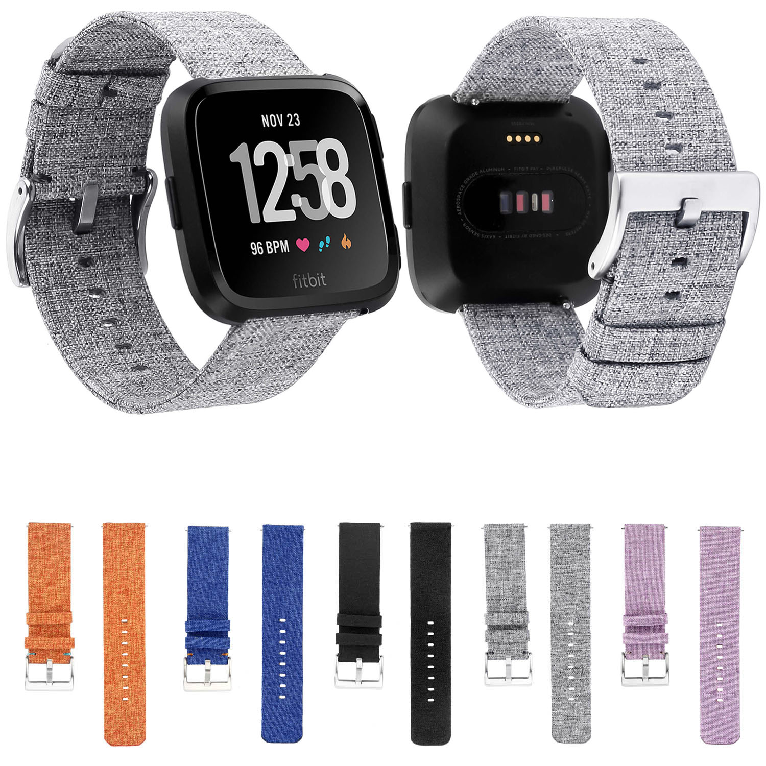 Quick Release Woven Nylon Canvas Watchband Buckle Strap Wristband for Fitbit Versa Smartwatch Watch Band Wrist Bracelet