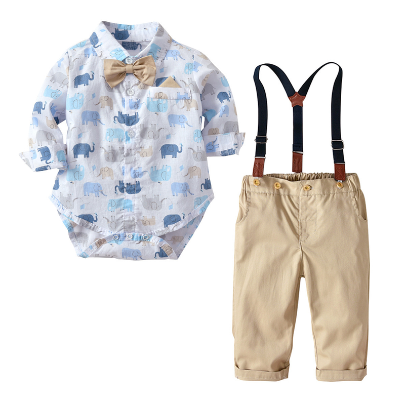 Boys Cute Bow Printing 100%Cotton Blouses Shirts +Elastic Waist Khaki Rompers Long Pants 2 Piece Set Baby Formal Dress Clothes