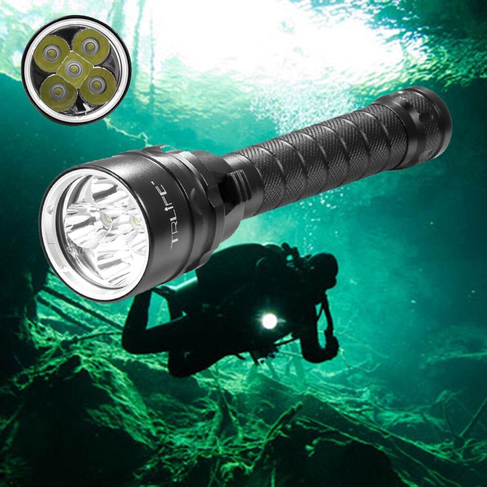 Buceo para linterna antorcha linterna 5 * T6 12000 lums antorcha 200 m bajo el agua táctico impermeable led lámpara de la linterna