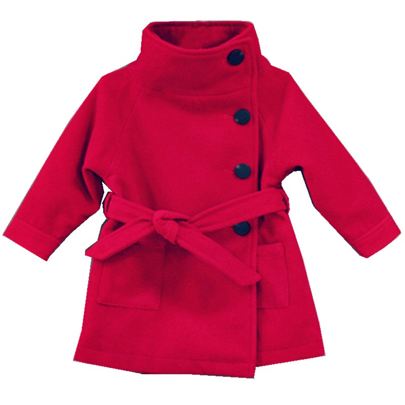 2-8 years children's fall and winter models girls coat Thicken Woolen cloth double-sided coat High collar warm coat one button design longline woolen coat page 2