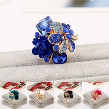 Fashion Jewelry Flower Ring Crystal Rhinestones Resin Adjustable Opening Rings 7 Colors