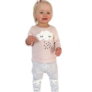 Рождественская Одежда для новорожденных комплект одежды для маленьких девочек, весенне-Осенние футболки с геометрическим рисунком ресниц ...