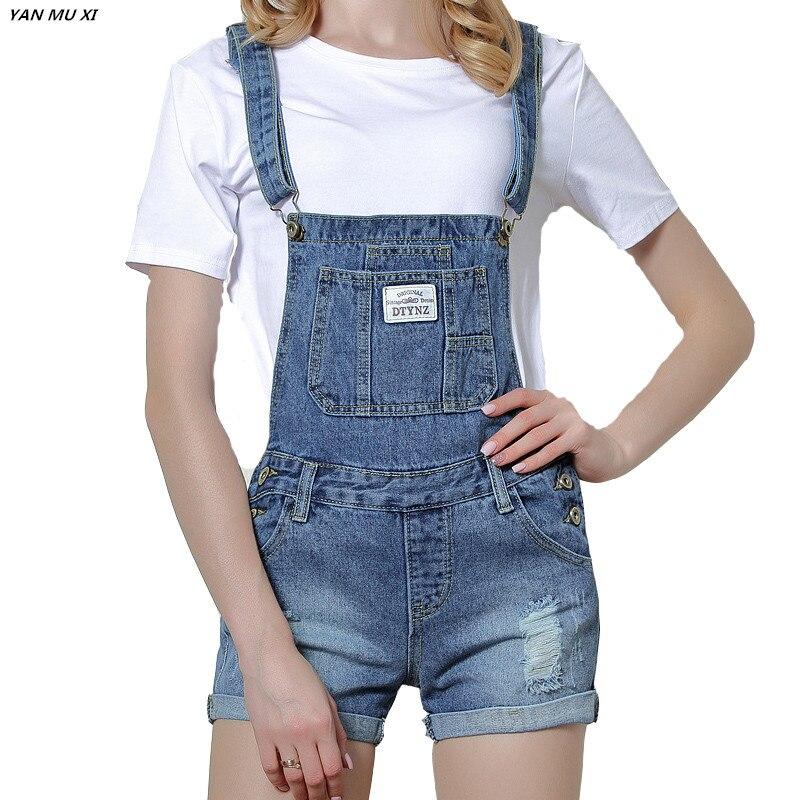 New Brand YAN MU XI 2017 Summer Holes Shorts Women Slim Strap Shorts Patch Harajuku Pocket Fashion College Wind Women Shorts