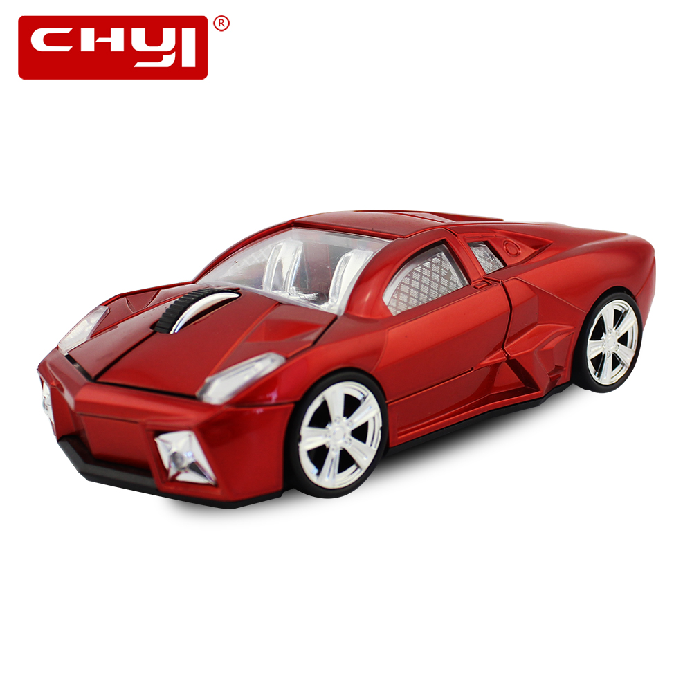 CHYI Racing Car Shaped Mouse Wireless USB Optical Mause 1600DPI Mini Computer Gaming Mice Gamer with LED Light for PC Laptop 1600dpi mini car shape usb optical wired mouse innovative 2 headlights mouse for desktop computer laptop mice brand new
