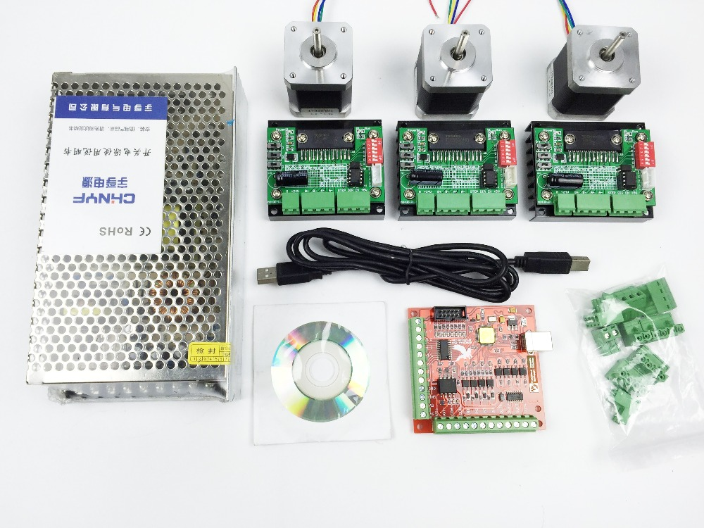 CNC Router USB 3 Axis Kit,3pcs TB6560 driver+ mach3 USB stepper motor controller board + 3pcs nema17 stepper motor +power supply 3pcs i9300 power supply ic max77686