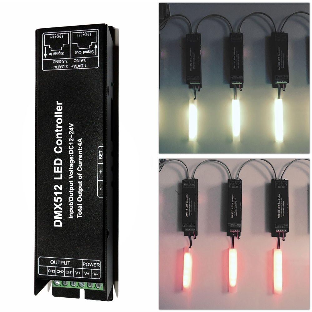 DC 12V-24V 3 Channel DMX 512 LED Controller for RGB LED Strip Light fast shipping 3pcs 24ch dmx512 controller decoder ws24luled 24 channel 8groups rgb output dc5v 24v for led strip light module
