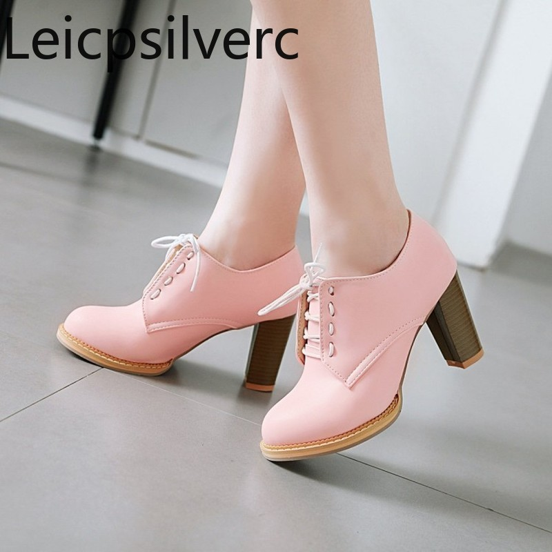 Women's Shoes Thick Heel New-Fashion Pumps Round-Head Autumn Plus-Size The And 32-48