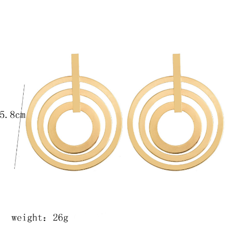 1Pair Fashion Exaggerated Earrings Punk Gold Silver Big Geometric 3 Circle Dangle Earrings for Women Bohemian Party Jewelry Gift in Drop Earrings from Jewelry Accessories