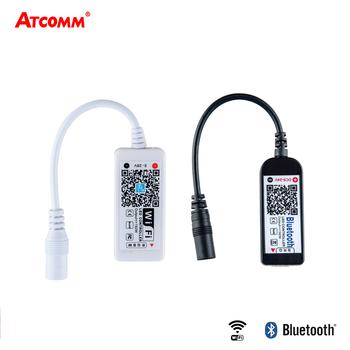 5 V-24 V RGB RGBW sterowanie przez wifi ler 12V LED pasek światła ściemniacz RGB android ios sterowanie przez wifi 2835 5050 RGB diody Tpae lampa tanie i dobre opinie Kontroler RGB Smartphone APP ATcomm ROHS 5-24 v 5050 2835 3528 RGB STRIP WiFi Bluetooth 2-5 Meters Plastics 2 Years Only White Shell