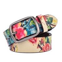 2017 New Women/Men Belt Luxury Brand Genuine leather belt for men fashion Printing belts for women Retro Unisex Casual Jeans