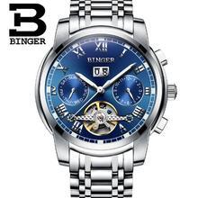 2017 Homens Relógios Top De Luxo Da Marca Suíça Binger Homens Relógio Automático Tourbillon relógio de Pulso de Aço Inoxidável Relógio Do Esporte