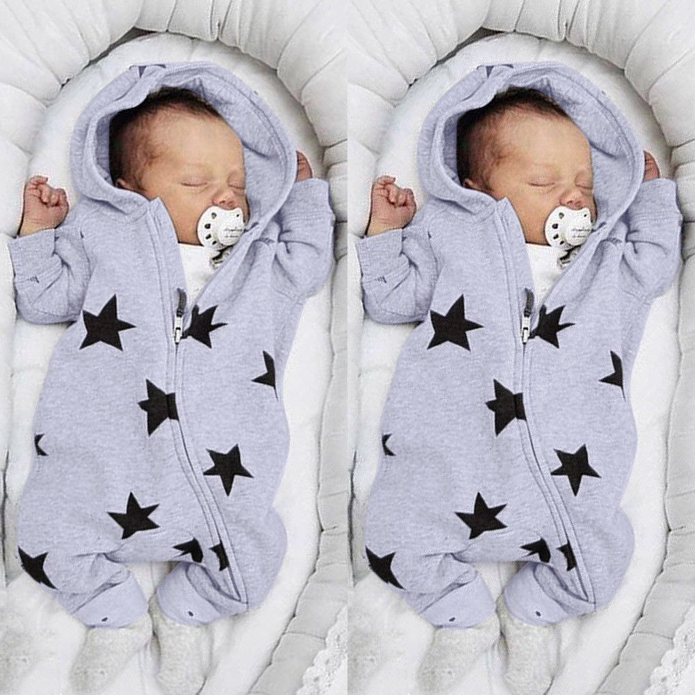 Newborn Infant Baby Girls Boys Stars Print Hooded Zipper Romper Jumpsuit Outfits Spring Brand New Fashion Newborn Jumpsuits