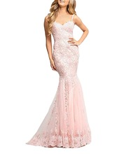 Womens 2018 Lace Mermaid Prom Dresses Formal Evening Gown long dresses evening luxury dress pink party