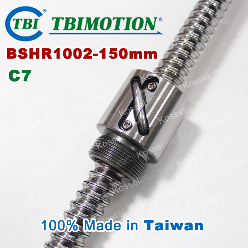 TBI Ball screw 1002 C7 150mm with 2mm Lead Without Flange Ballnut BSH1002 for CNC kit tbi ball screw 2005 c7 1000mm with 5mm lead without flange ballnut bsh2005 for cnc kit backlash