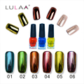 Lulaa 3pc/lot 6mlTop coat+Base Silver Mirror Effect Metal Multi Color Nail Paint Topcoat Coat Metal Nail Gel Polish Decorating