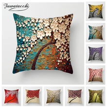 Fuwatacchi Vintage Flower Cushion Cover Mural Tree Wintersweet Cherry Blossom Pillow for Home Decorative Pillows 45*45cm