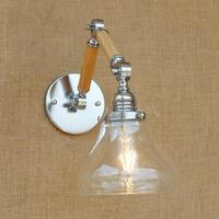 Hotel Room Glass Lampshade Wall Lights Wood Iron Inoor Wall Sconce Wall Mounted Mirror Light Wandlamp