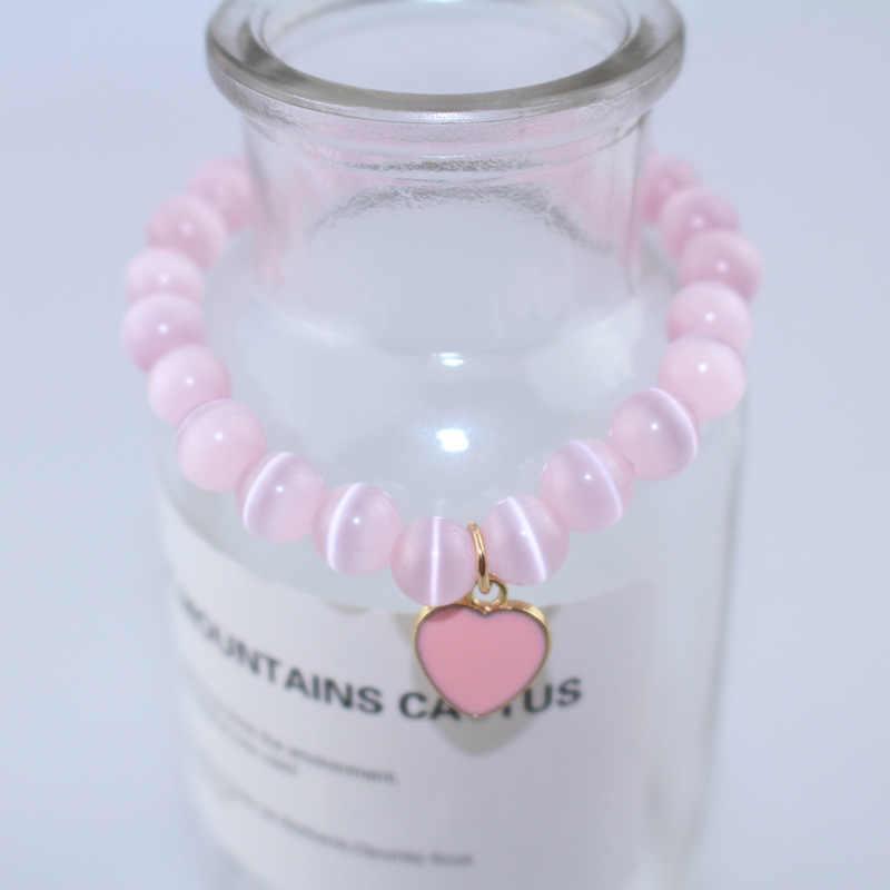 女性甘いかわいいブレスレットピンク猫目天然石ビーズブレスレット 2019 愛のペンダントラッキーチャームマット石ブレスレット