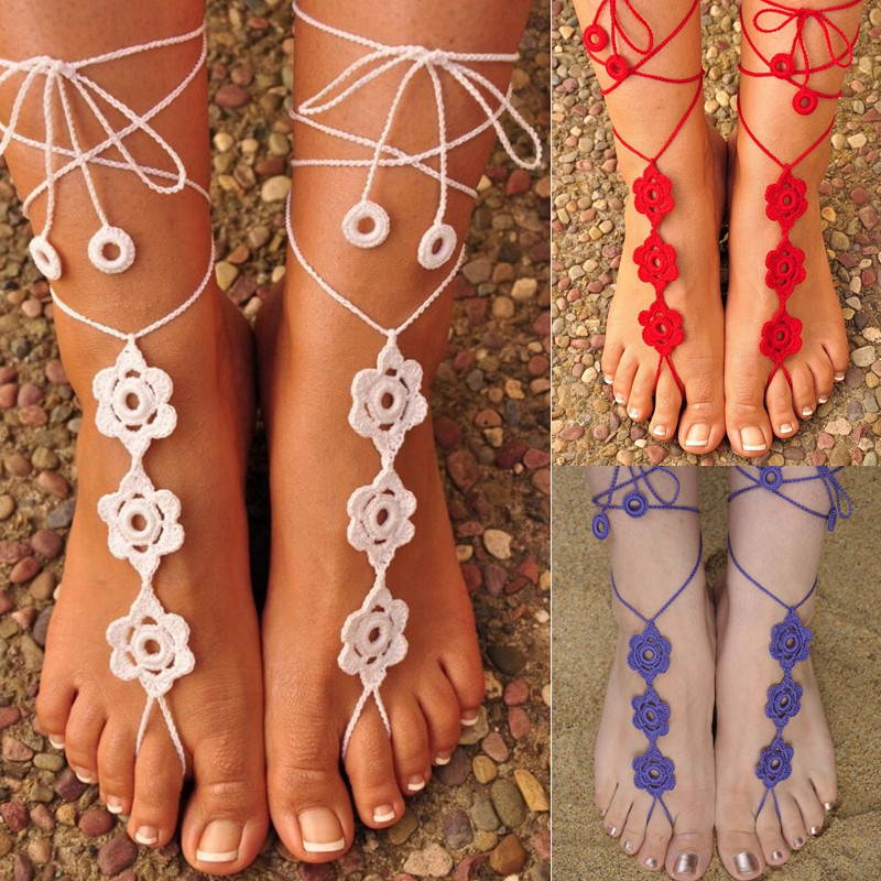 wedding barefoot crochet anklet sandles sandals hippie beads yoga pin