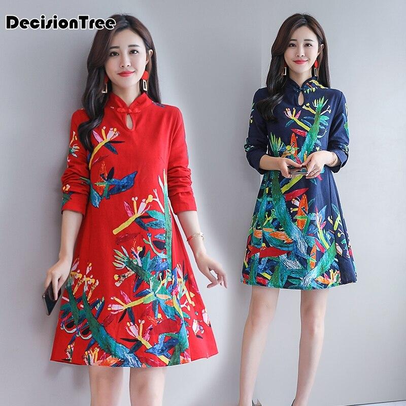 2019 Cotton Linen Qipao Lady Traditional Chinese Dress Cheongsam Dresses Women Long Sleeve Knee Length Qipao Print Dress