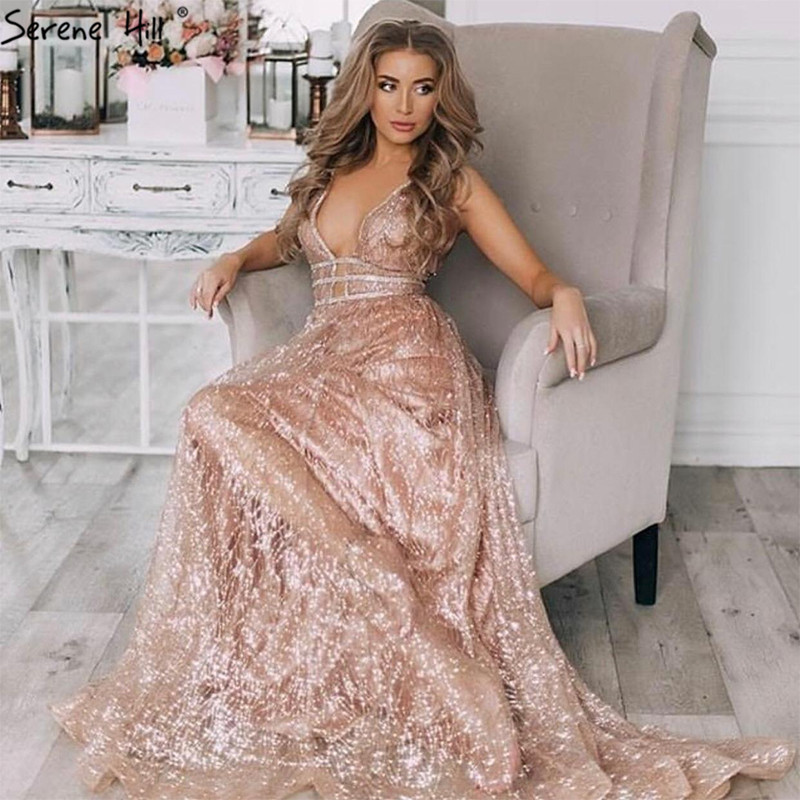 Rose Gold Deep-V Sexy Tulle Evening Dresses 2019 Sleeveless Glitter A-Line Evening Gowns Serene Hill LA60922