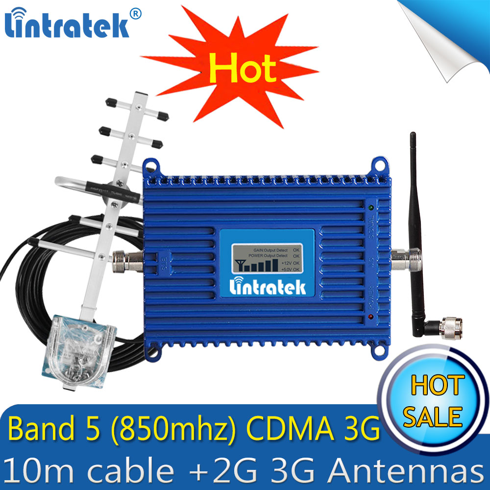 Lintratek LTE Band 5 850mhz CDMA 3G Signal Repeater CDMA 850mhz Gain 70dB Repetidor De Celular Cell Phone LCD Booster