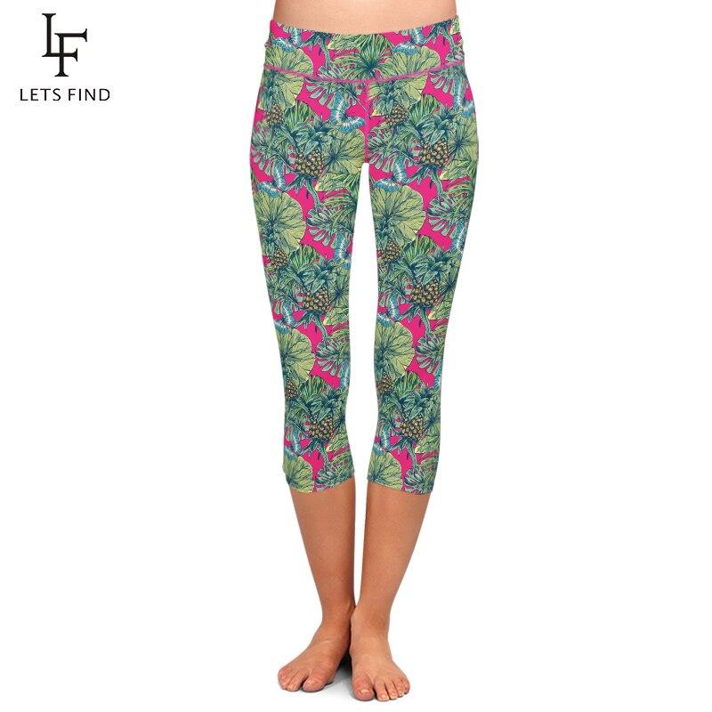LETSFIND  Fashion Workout Leggings High Elastic Milk Silk Pineapple Printed Casual Leggings High Waist Summer Capri Leggings