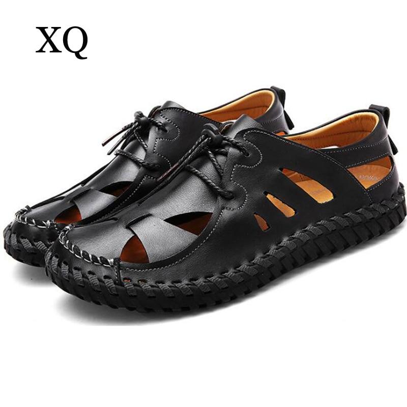 Män sandaler högkvalitativa äkta läder spetsar upp Sommarskor män plattor sandaler mjuka sulor skor zapatos hombre
