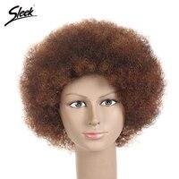 Sleek короткие Человеческие волосы Искусственные парики для черный Для женщин бразильские афро кудрявый вьющиеся волосы не Кружево парик 6 цв...