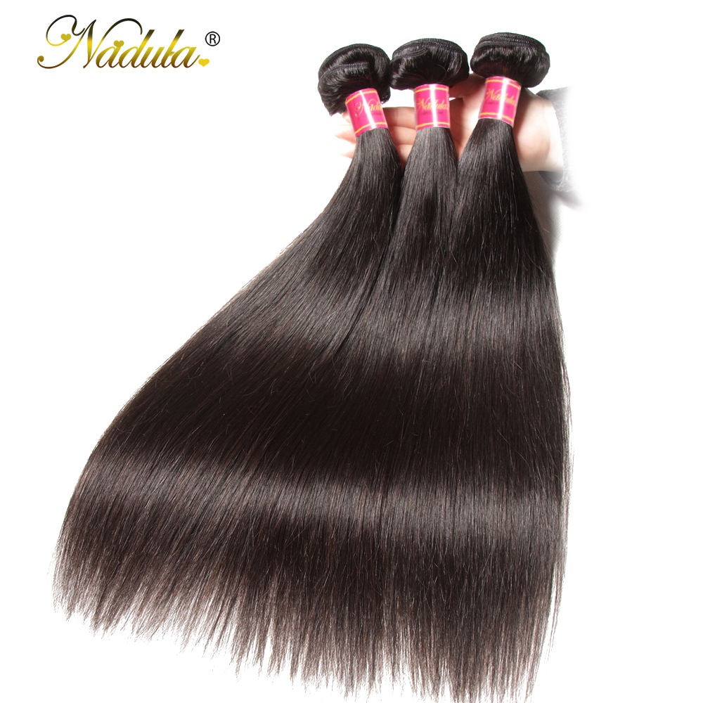 Nadula Hair 3 Bundles / 4 Bundles Brazilian Straight Hair Bundles - Menneskehår (sort)