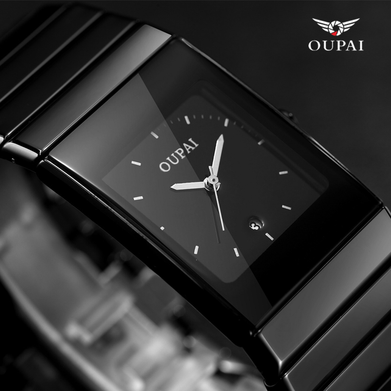 OUPAI Black Ceramic business watch erkek kol saati mens watches top brand luxury Square Watches with calendar relogio masculino