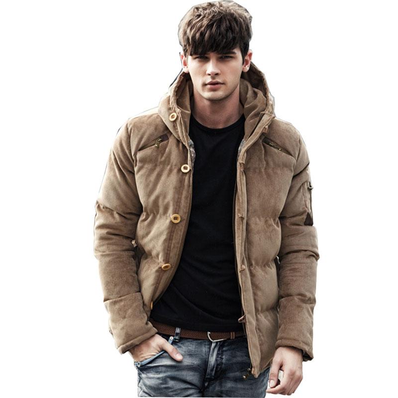New Winter Men Jacket Coat Fashion Warm Male Jackets Men Parka Hooded Casual Overcoat Corduroy Hood Padded women lady thicken warm winter coat hood parka overcoat long outwear jacket