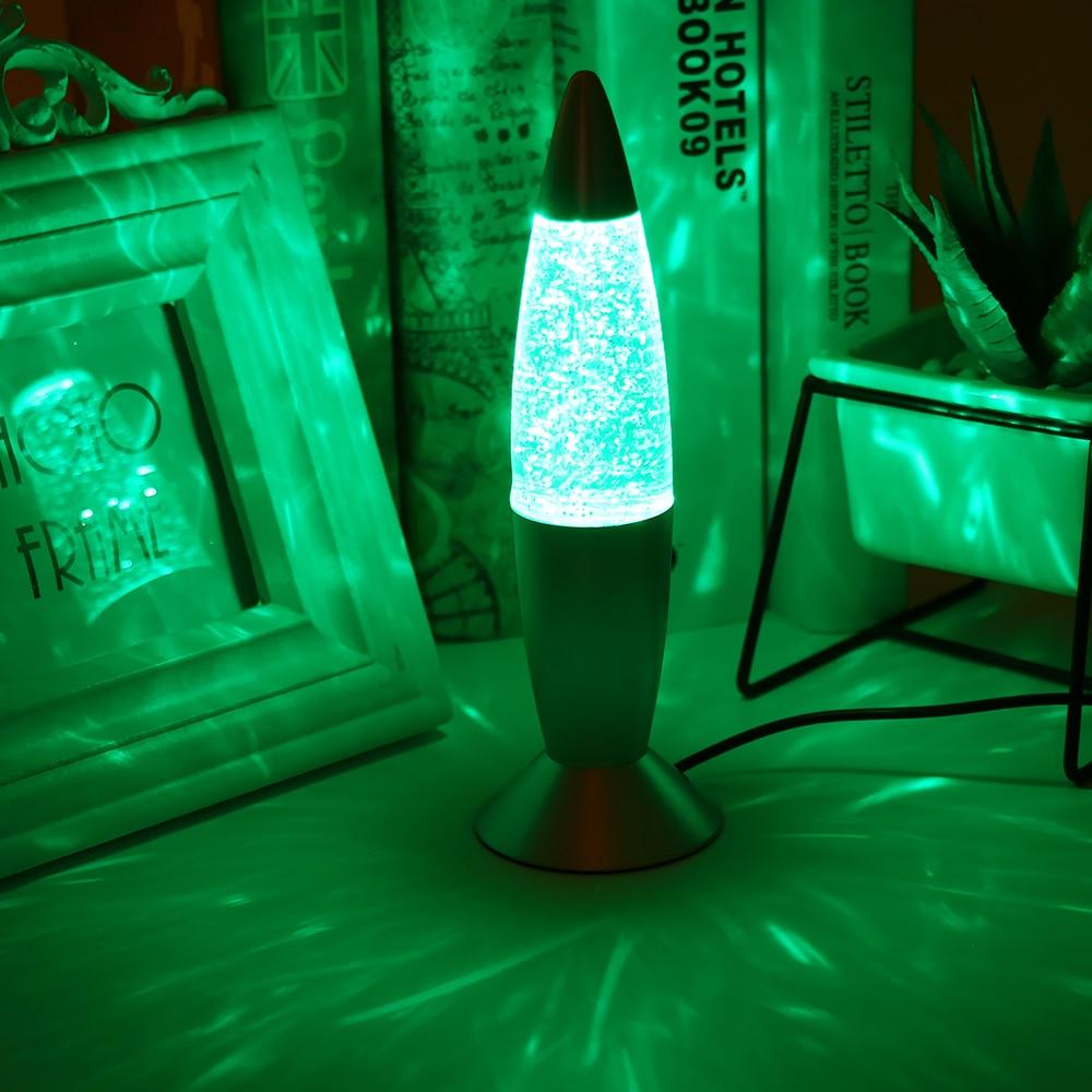 Lava Lamp 3D Multi-Color Changing Rocket Glitter Bedside Night Light DIY Decor