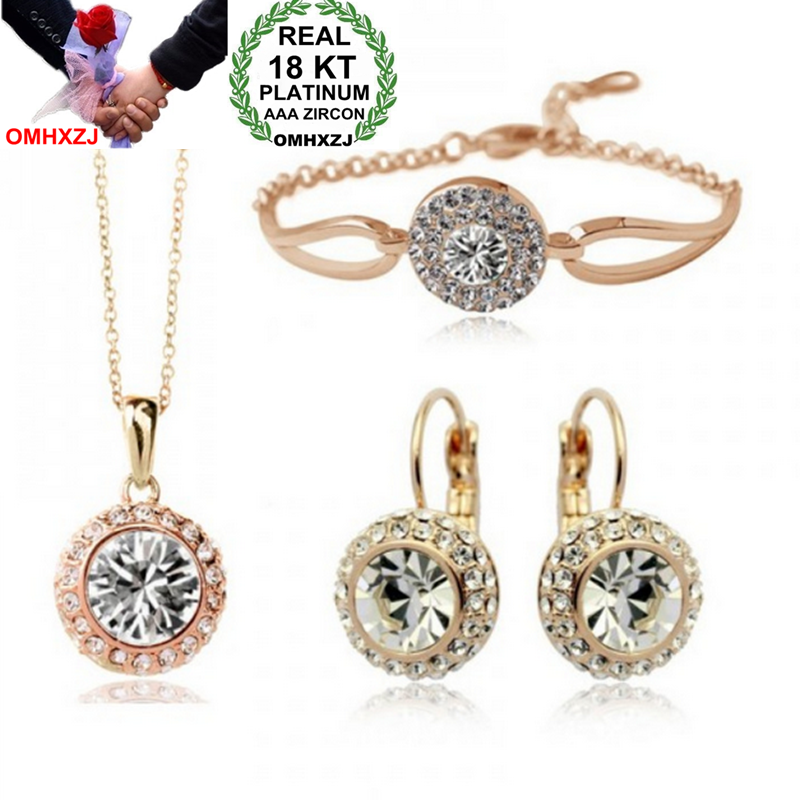 OMHXZJ Wholesale AAA Austrian Crystal Gold 18KT Platinum Woman Bride Moon River Necklace Earrings Bracelet Jewelry Sets ST12