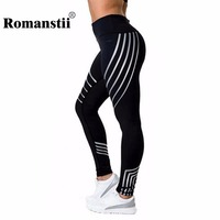 Romanstii Legging Women Fashion Sexy Lady Fitness Striped Slim Footless Push Up Pants Female Trousers Workout
