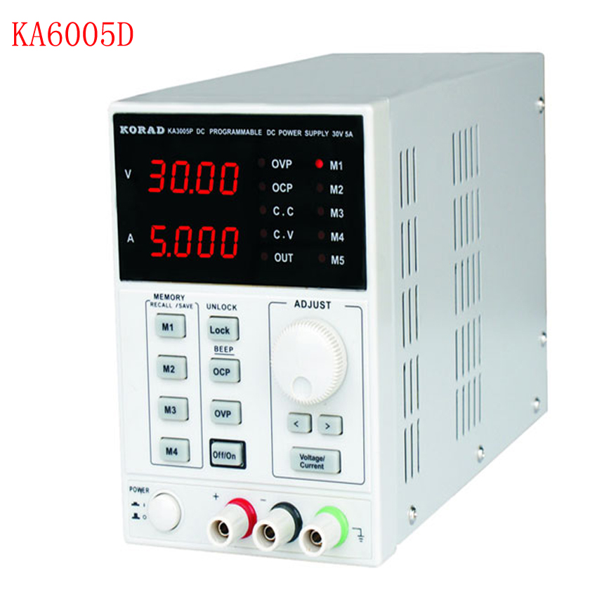 KA6005D-précision Variable réglable 60 V, 5A DC alimentation linéaire numérique de qualité de laboratoire régulée