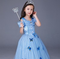 Snow Queen Cosplay Baby Girl Cartoon Dress Anna Elsa Princess Cinderella Fancy Kids Clothes For Party