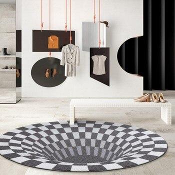 Arte Del Pavimento 3d | Post Modern 3D Modello Di Tessuto Grigio Tappeto, Big Size Rotonda A Forma Di Art Living Room Tappeto, Decorazione Della Casa Da Comodino Tappetino
