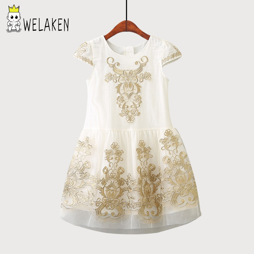 weLaken Girl Princess Dress Children Gold Thread Embroidery Dress Kid's Clothes Children Clothing Girls Mesh Princess Dress gold sexy gold thread embroidery hollow out lace crop top