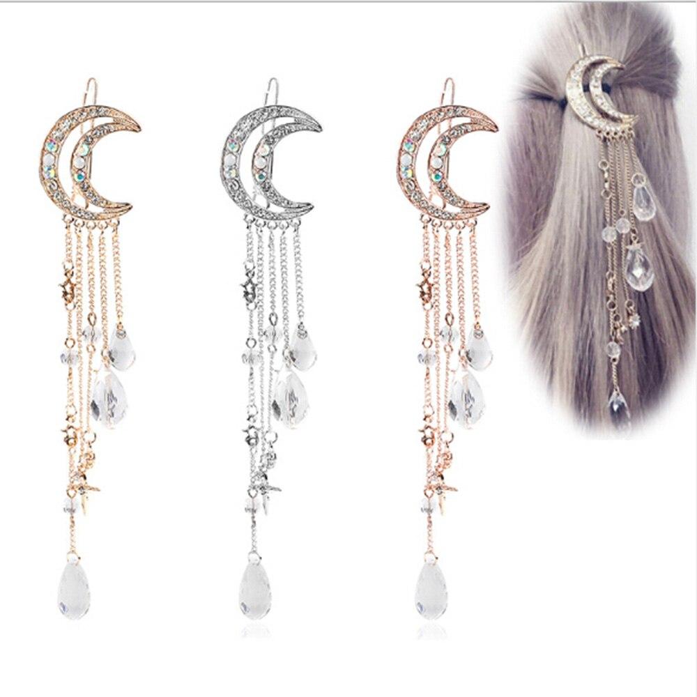 1 предмет Женская Сережка Moon горный хрусталь подвеска Pin кисточкой длинные цепочки, бусы Шпилька Дамы украшение для волос клип груза падения