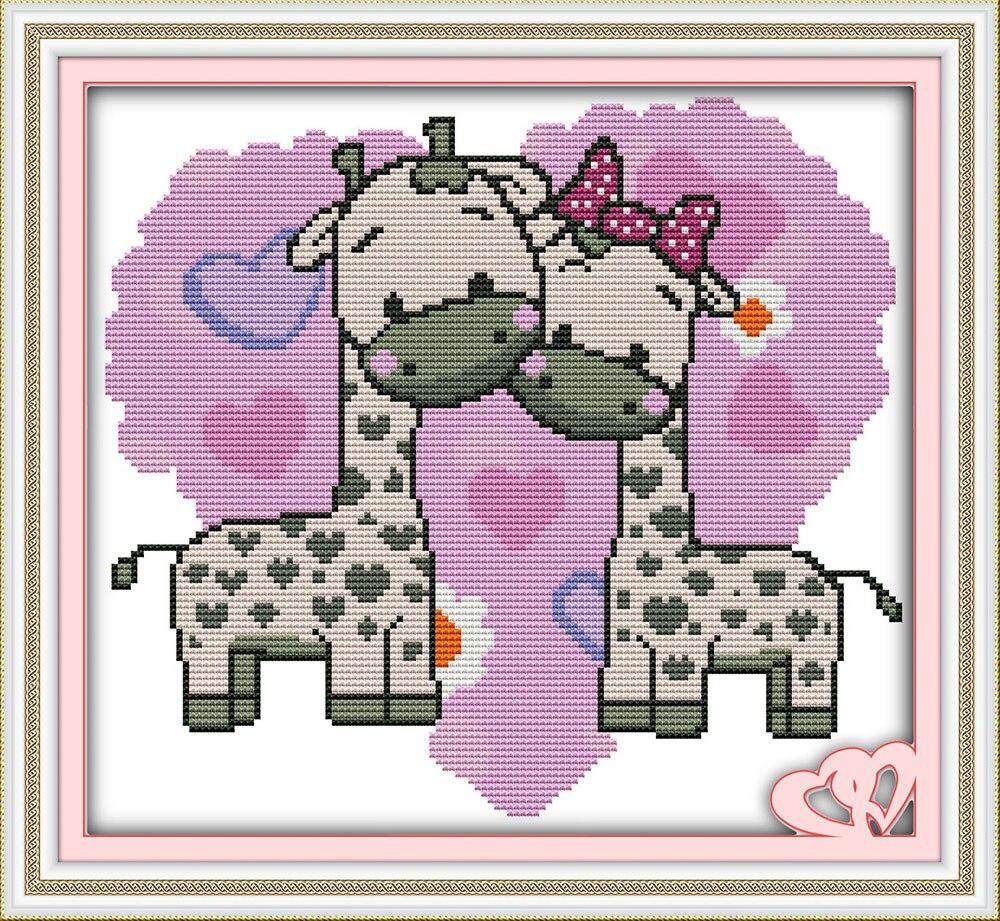 Joy Sunday Couture DIY Chinois Point De Croix Ensembles pour Broderie Kit Imprimer La Girafe Couples Motif de Croix Compté-Couture