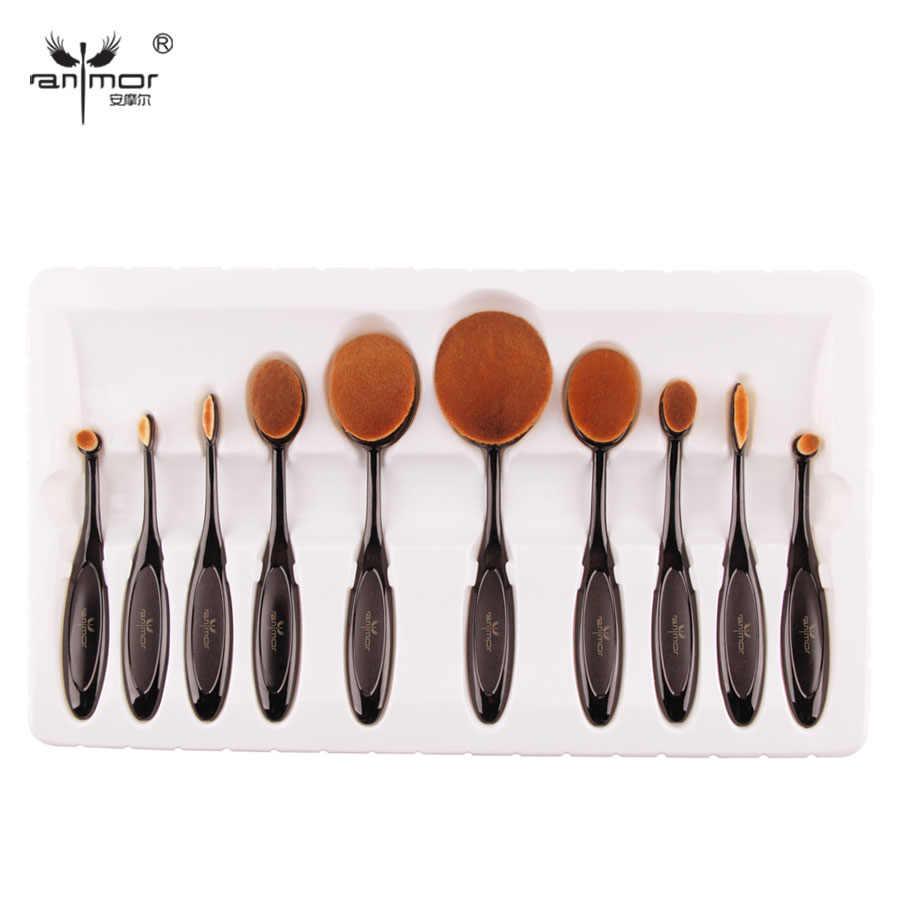 158a595bd92f 10 PCS Per Set Tooth Brush Shape Oval Makeup Brush Set MULTIPURPOSE Makeup  Brushes Professional Foundation Powder Brush Kits