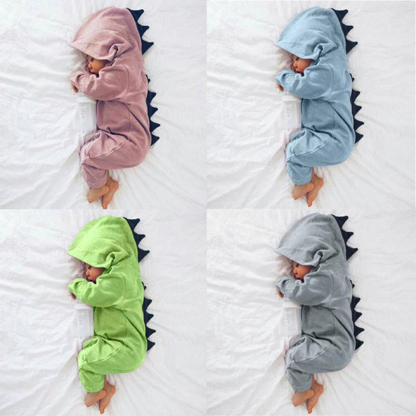 Cartoon Dinosaur Design Hooded Baby Rompers Newborn Clothing Cotton Long Sleeve Jumpsuits Boys Girls Outerwear Costume Baby Gift cartoon dinosaur baby clothes set autumn long sleeve t shirt cotton overalls infant rompers kids toddler jumpsuits outerwear