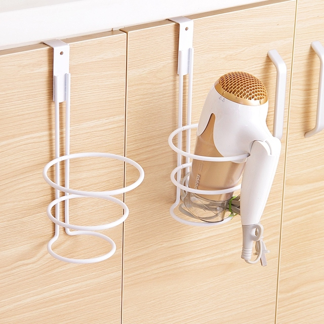 Practical Hair Dryer Holder Cupboard Cabinet Over Door Hook Hanger Storage Rack Organizer Bathroom Accessories